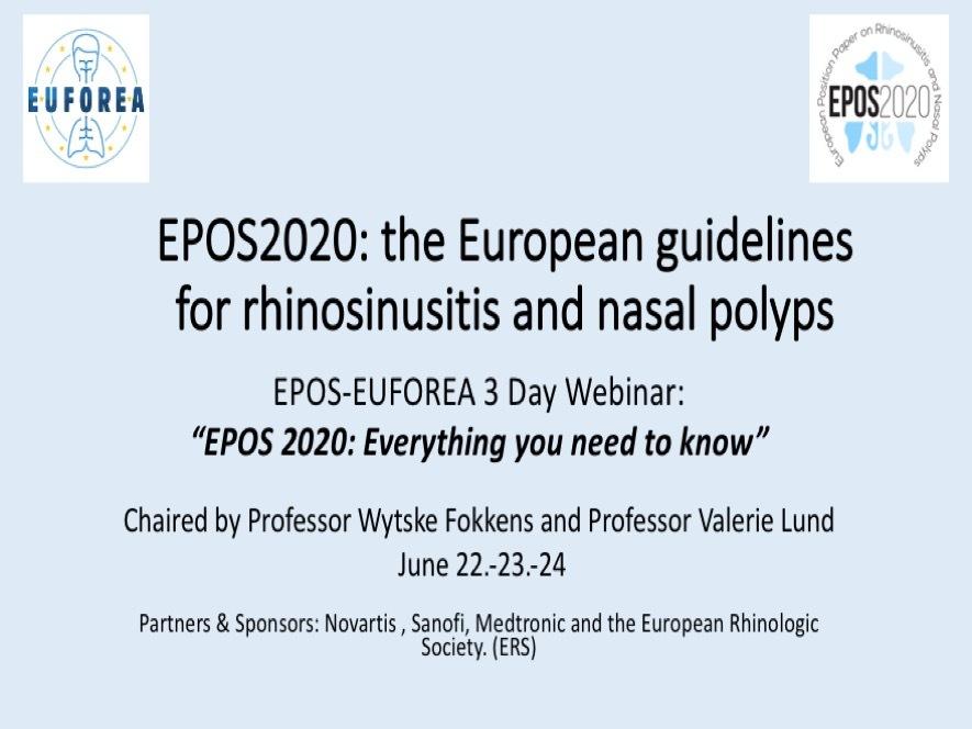 WEBINARS: EPOS 2020 EUROPEAN POSITION PAPER ON RHINOSINUSITIS AND NASAL POLYPS